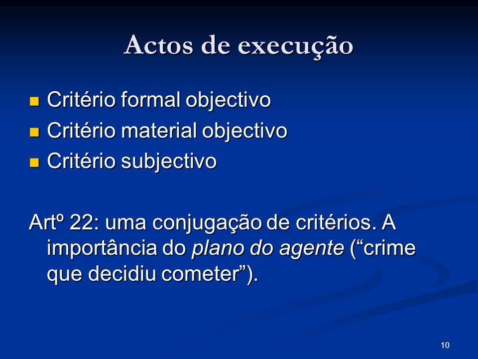 Actos de execução Critério formal objectivo