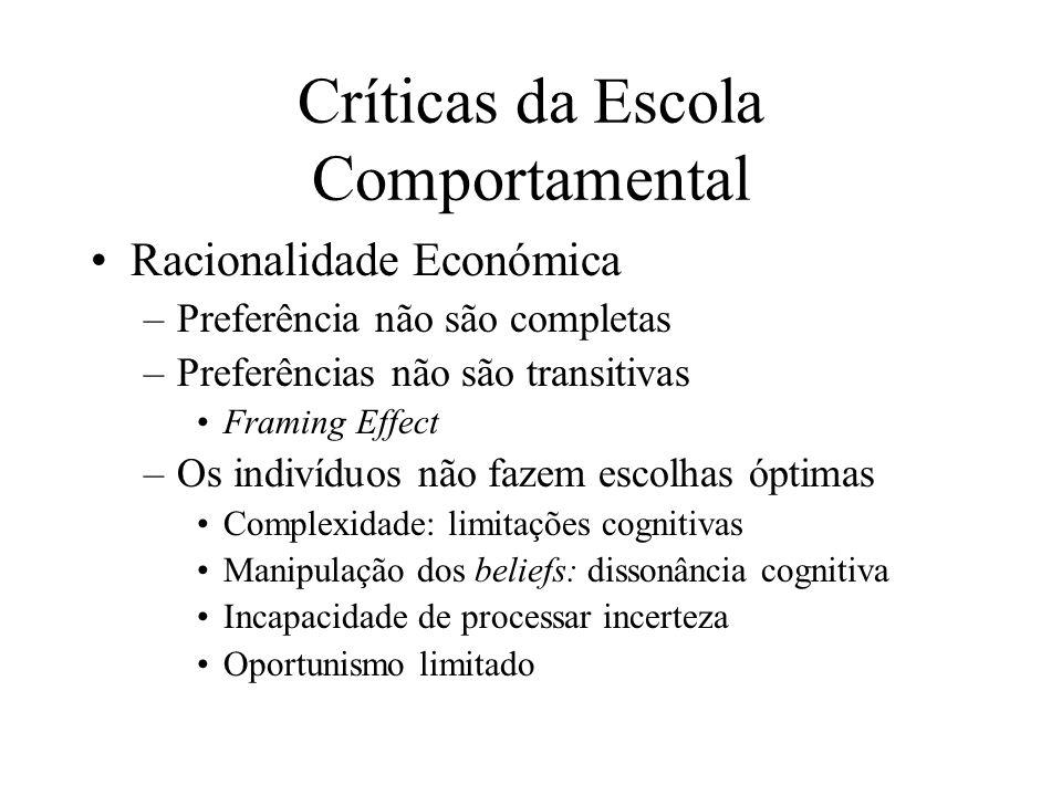 Críticas da Escola Comportamental