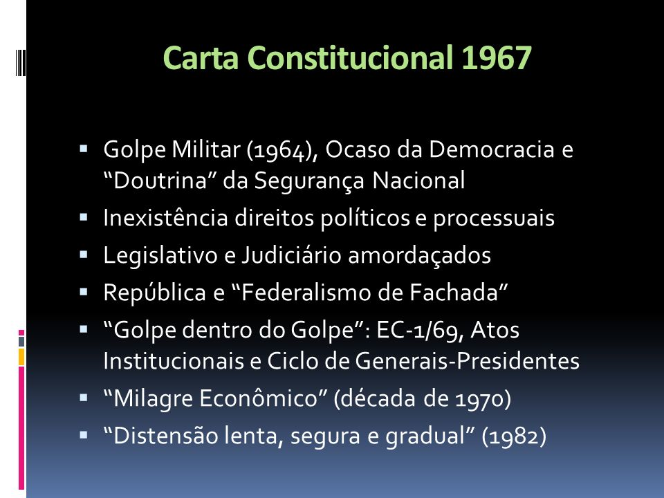 Carta Constitucional 1967 Golpe Militar (1964), Ocaso da Democracia e Doutrina da Segurança Nacional.