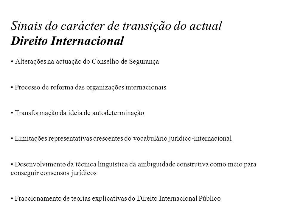 Sinais do carácter de transição do actual Direito Internacional