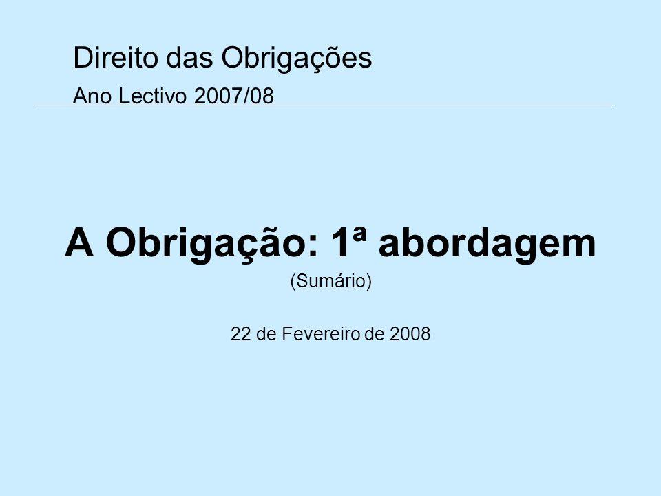 Direito das Obrigações Ano Lectivo 2007/08