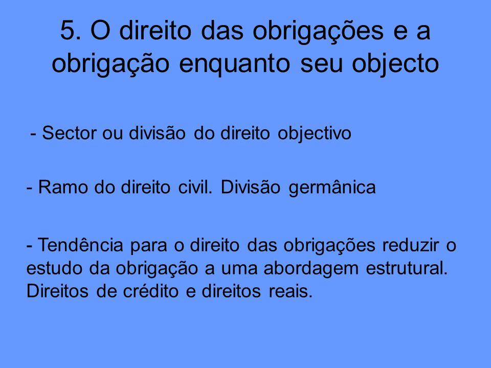 5. O direito das obrigações e a obrigação enquanto seu objecto