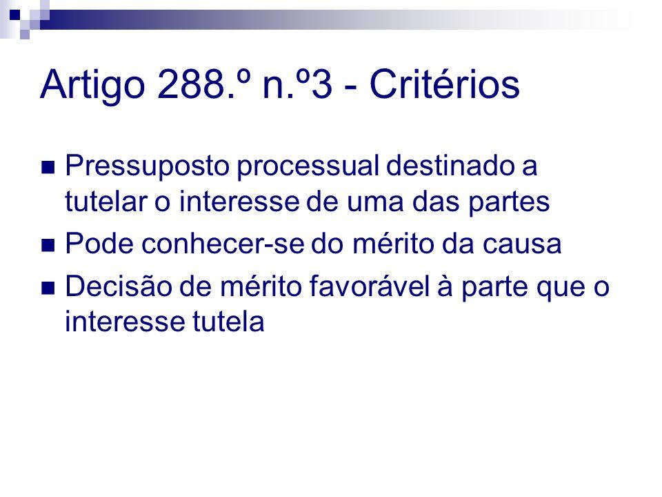Artigo 288.º n.º3 - Critérios Pressuposto processual destinado a tutelar o interesse de uma das partes.