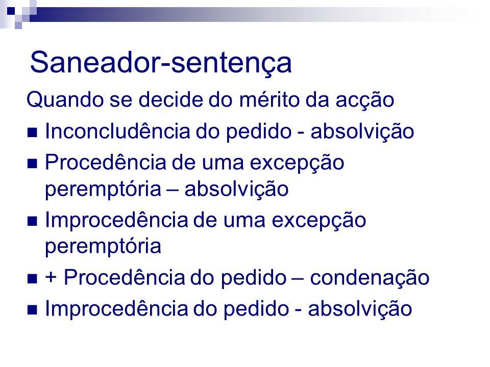 Saneador-sentença Quando se decide do mérito da acção