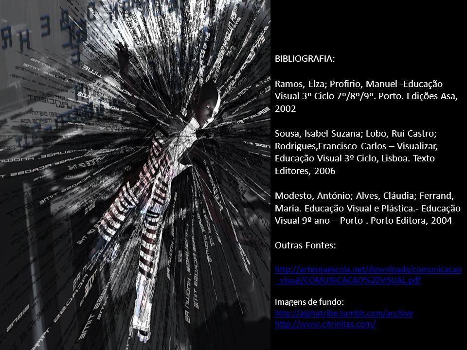 BIBLIOGRAFIA: Ramos, Elza; Profirio, Manuel -Educação Visual 3º Ciclo 7º/8º/9º. Porto. Edições Asa, 2002.