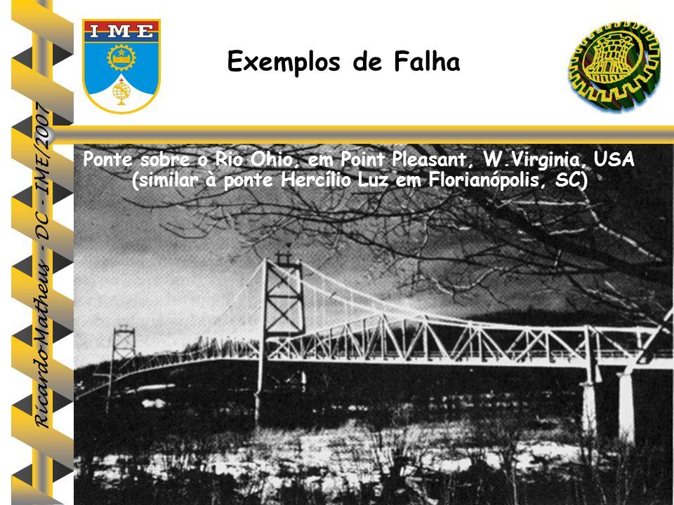 Exemplos de Falha Ponte sobre o Rio Ohio, em Point Pleasant, W.Virginia, USA (similar à ponte Hercílio Luz em Florianópolis, SC)