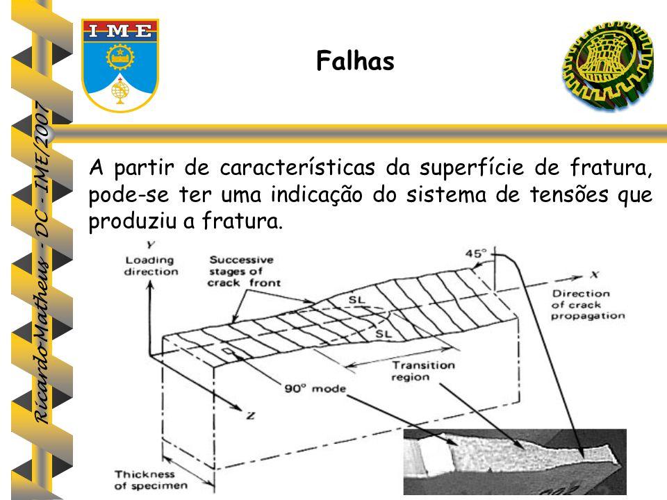 Falhas A partir de características da superfície de fratura, pode-se ter uma indicação do sistema de tensões que produziu a fratura.