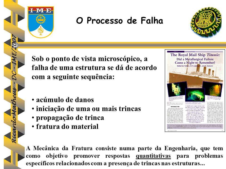O Processo de Falha Sob o ponto de vista microscópico, a falha de uma estrutura se dá de acordo com a seguinte sequência: