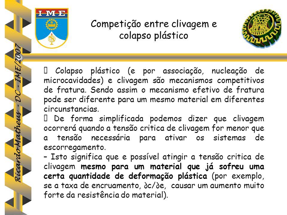 Competição entre clivagem e colapso plástico