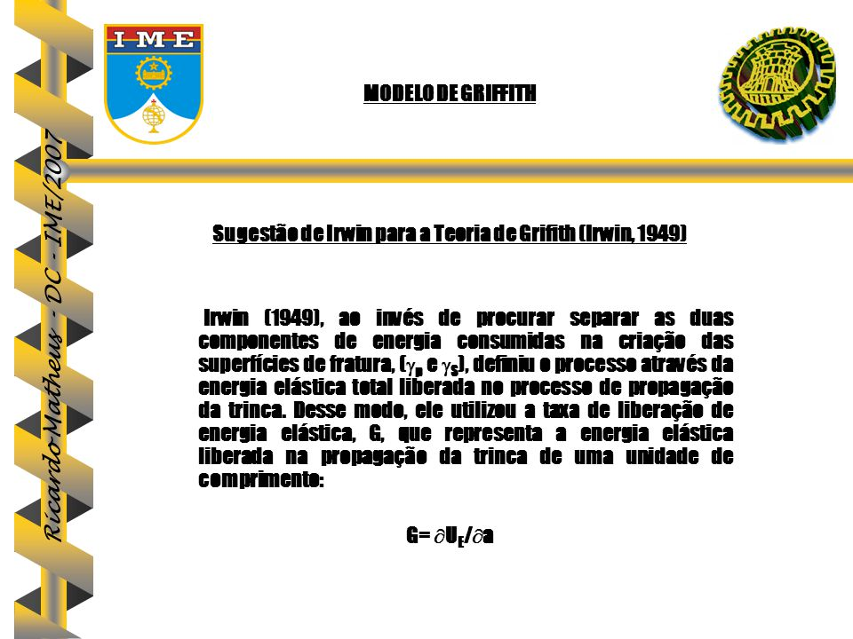 Sugestão de Irwin para a Teoria de Grifith (Irwin, 1949)