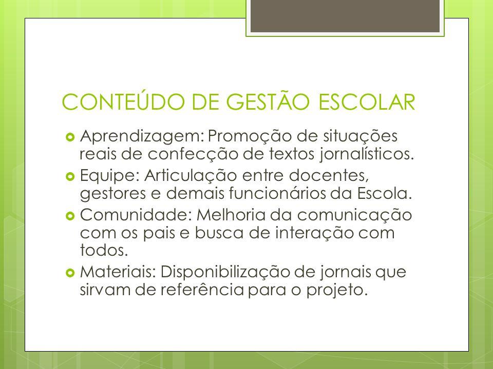 CONTEÚDO DE GESTÃO ESCOLAR