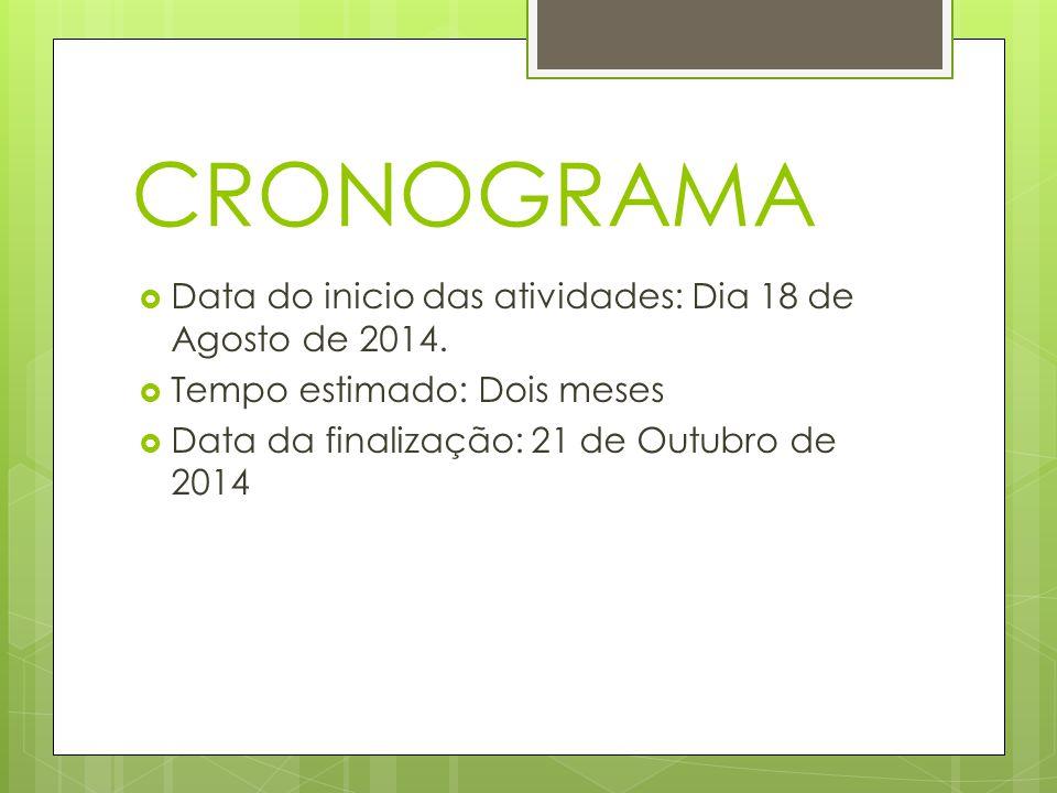 CRONOGRAMA Data do inicio das atividades: Dia 18 de Agosto de 2014.