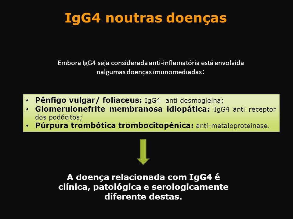 IgG4 noutras doenças Embora IgG4 seja considerada anti-inflamatória está envolvida nalgumas doenças imunomediadas: