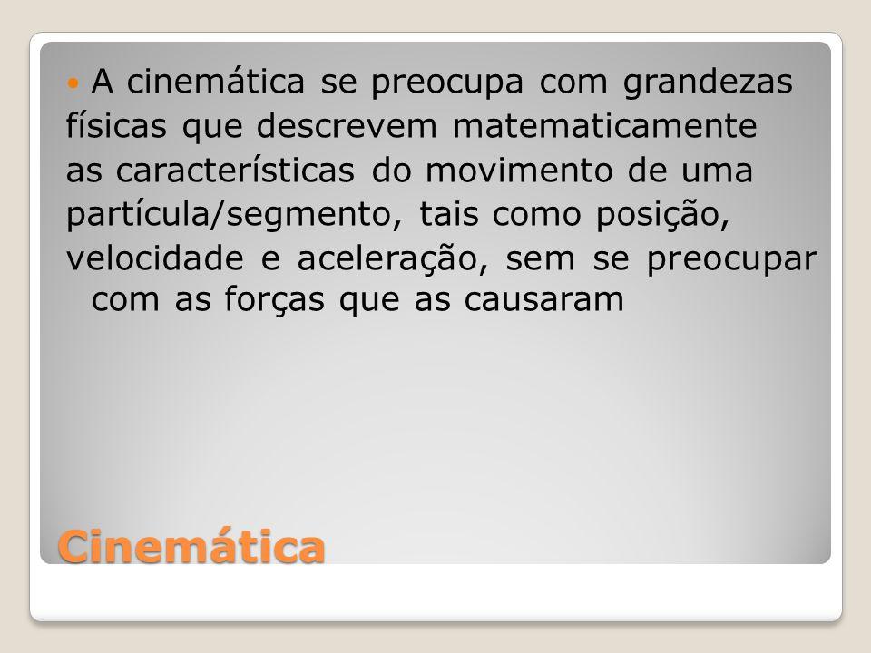 Cinemática A cinemática se preocupa com grandezas