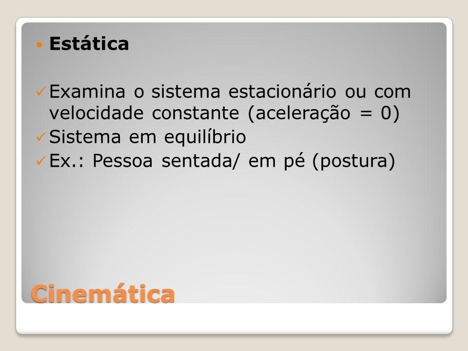Estática Examina o sistema estacionário ou com velocidade constante (aceleração = 0) Sistema em equilíbrio.