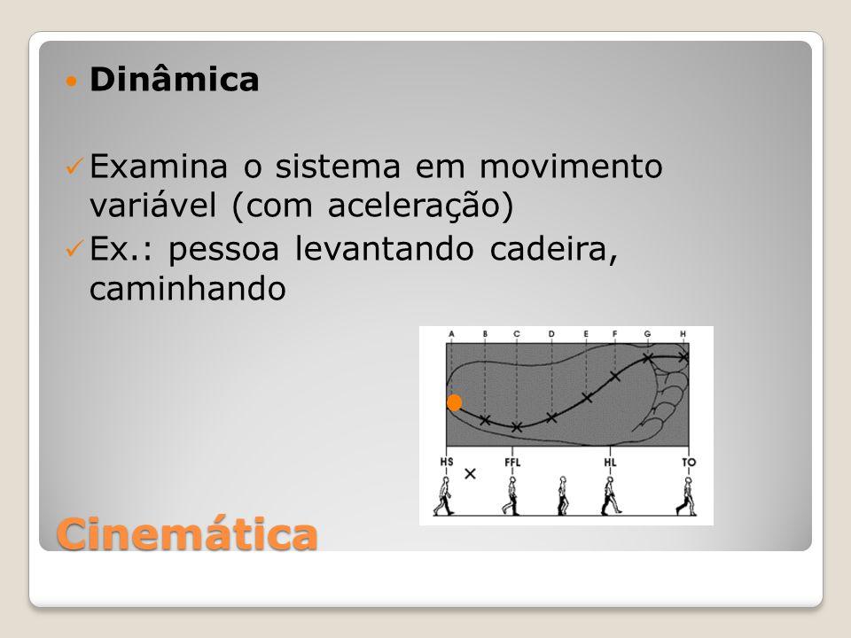 Dinâmica Examina o sistema em movimento variável (com aceleração) Ex.: pessoa levantando cadeira, caminhando.
