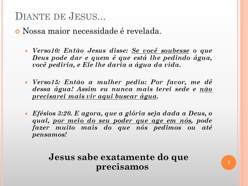 Jesus sabe exatamente do que precisamos