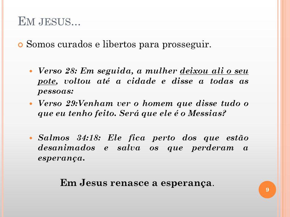 Em Jesus renasce a esperança.
