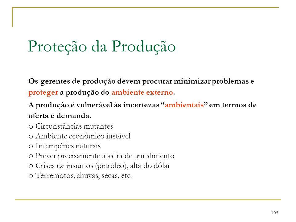 Proteção da Produção Os gerentes de produção devem procurar minimizar problemas e proteger a produção do ambiente externo.