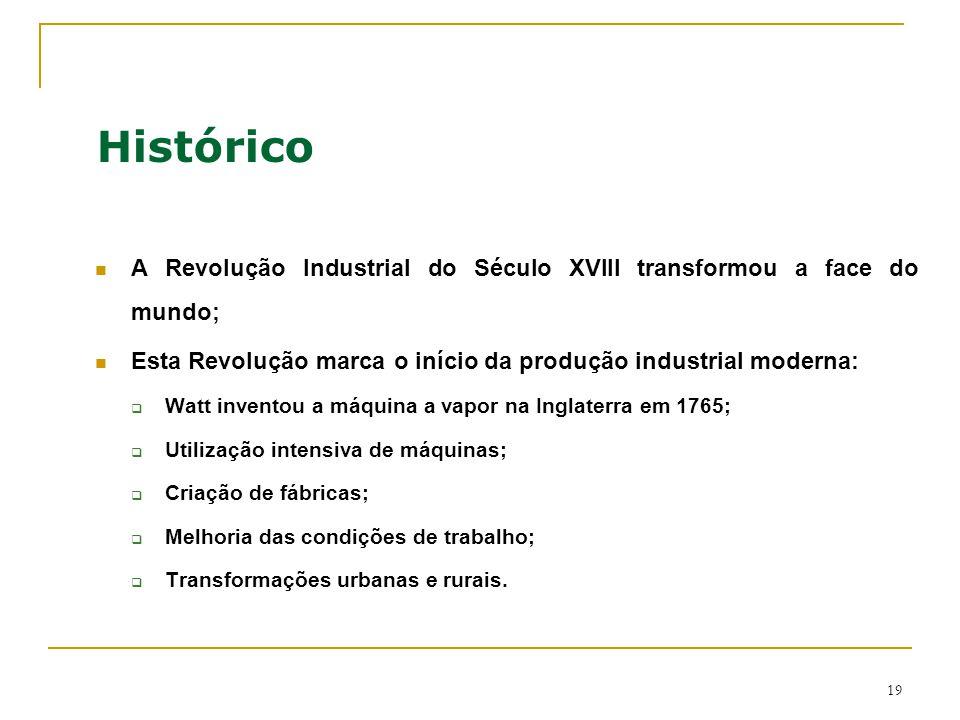 Histórico A Revolução Industrial do Século XVIII transformou a face do mundo; Esta Revolução marca o início da produção industrial moderna: