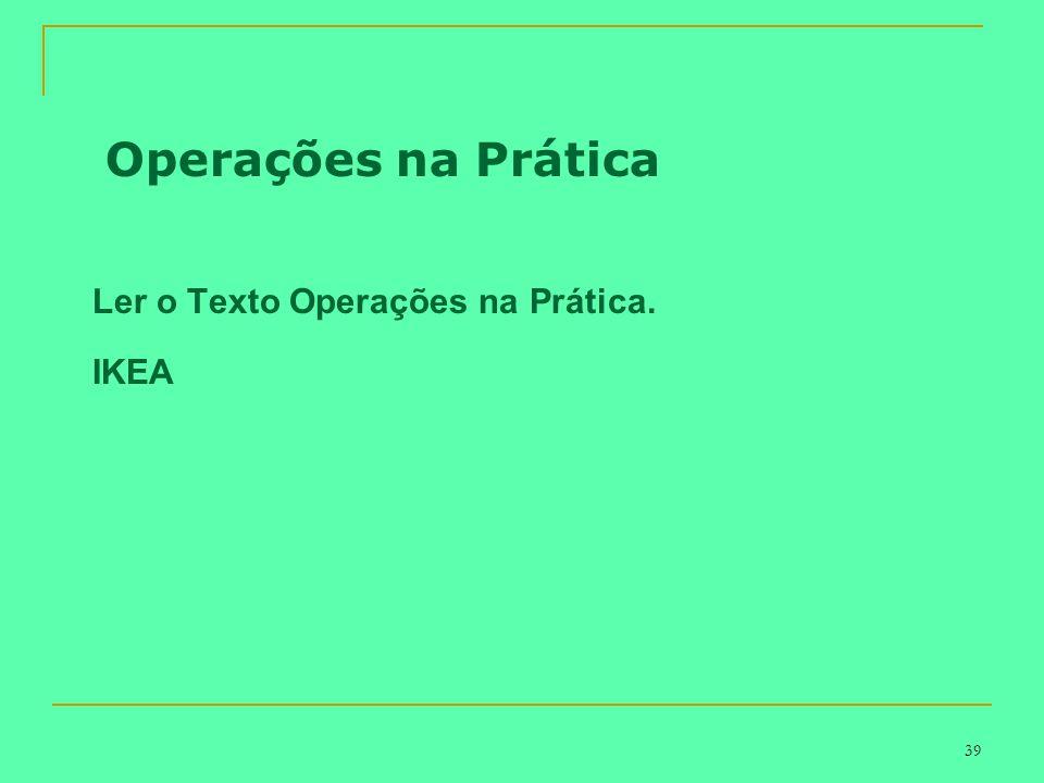 Operações na Prática Ler o Texto Operações na Prática. IKEA