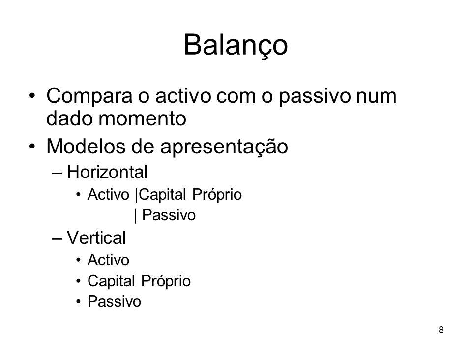 Balanço Compara o activo com o passivo num dado momento