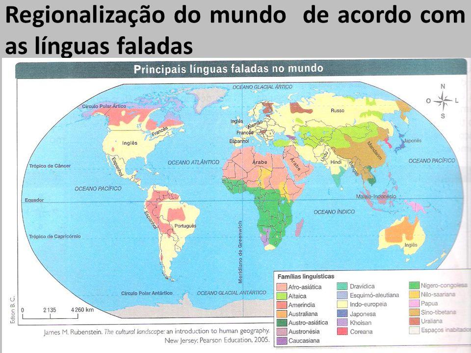 Regionalização do mundo de acordo com as línguas faladas