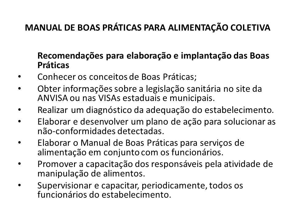 MANUAL DE BOAS PRÁTICAS PARA ALIMENTAÇÃO COLETIVA
