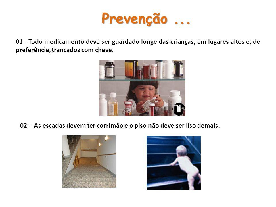Prevenção ... 01 - Todo medicamento deve ser guardado longe das crianças, em lugares altos e, de preferência, trancados com chave.
