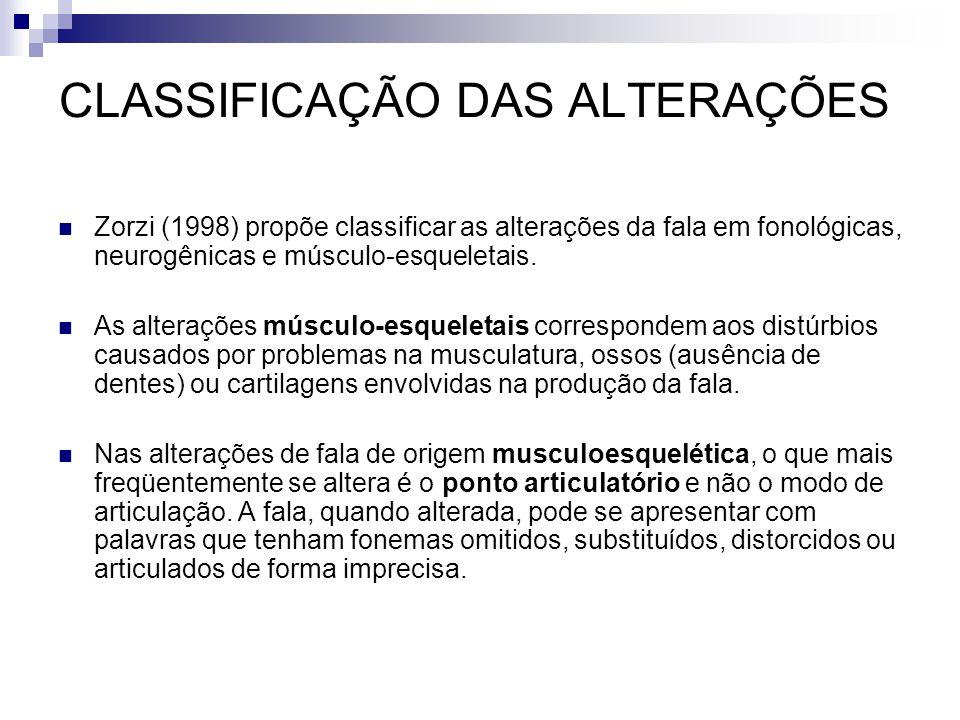 CLASSIFICAÇÃO DAS ALTERAÇÕES