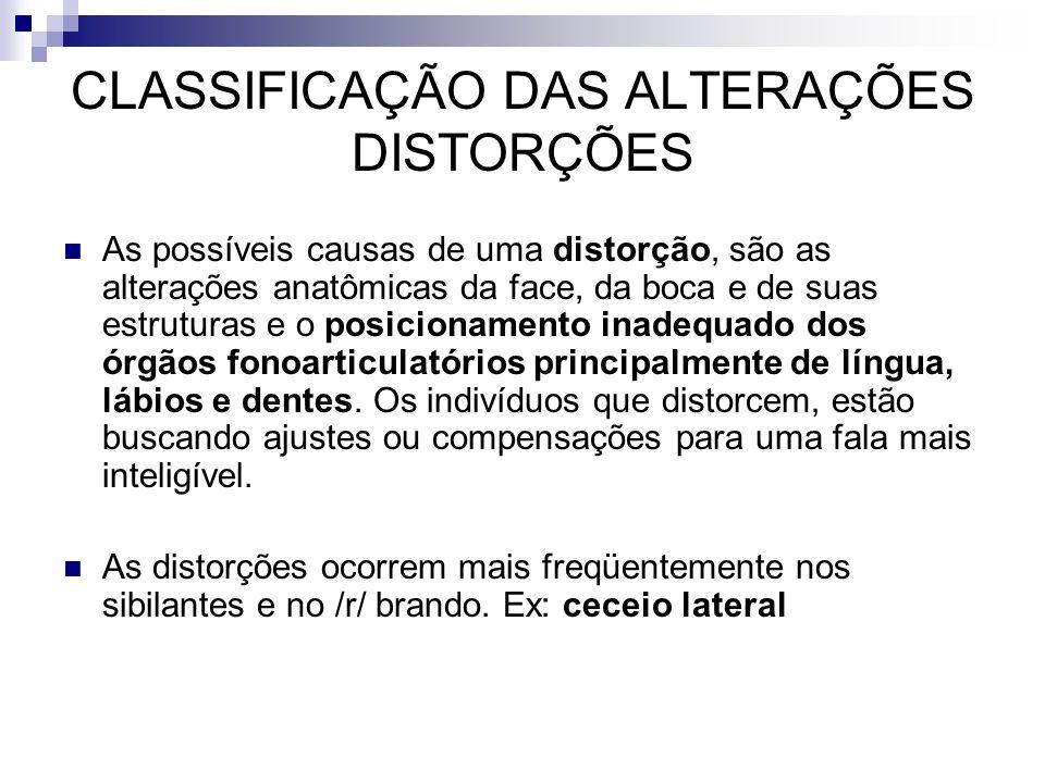 CLASSIFICAÇÃO DAS ALTERAÇÕES DISTORÇÕES