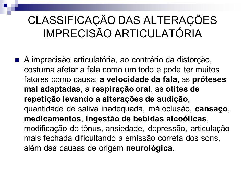 CLASSIFICAÇÃO DAS ALTERAÇÕES IMPRECISÃO ARTICULATÓRIA