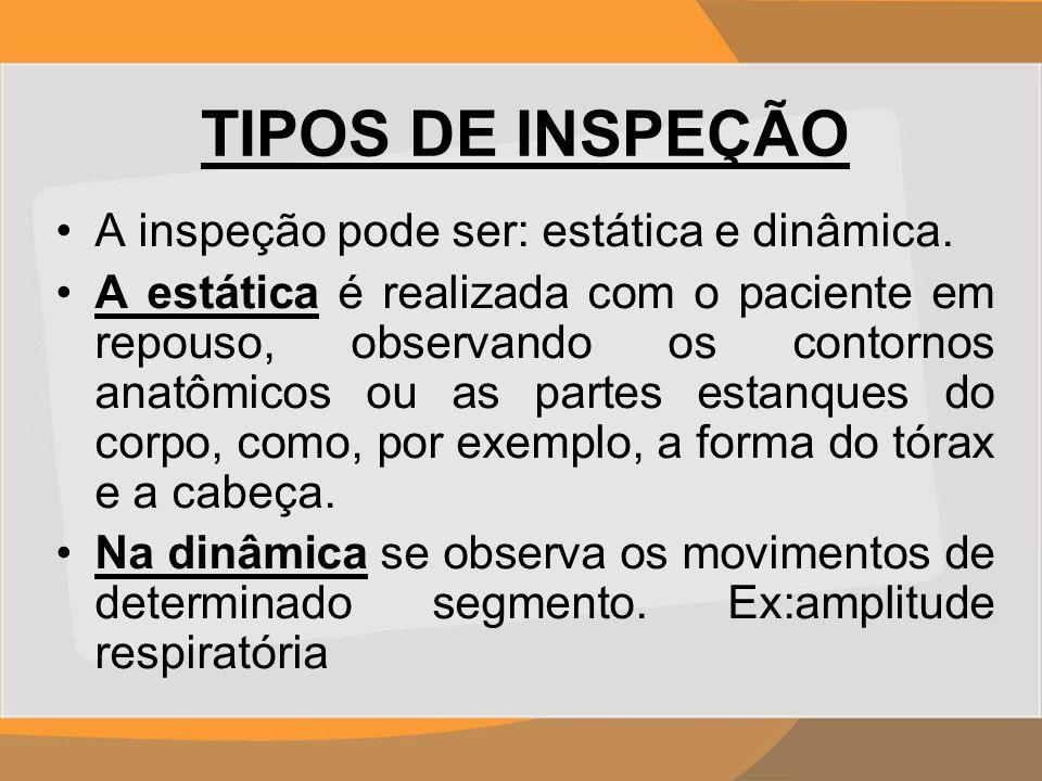 TIPOS DE INSPEÇÃO A inspeção pode ser: estática e dinâmica.