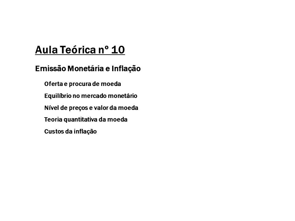 Aula Teórica nº 10 Emissão Monetária e Inflação