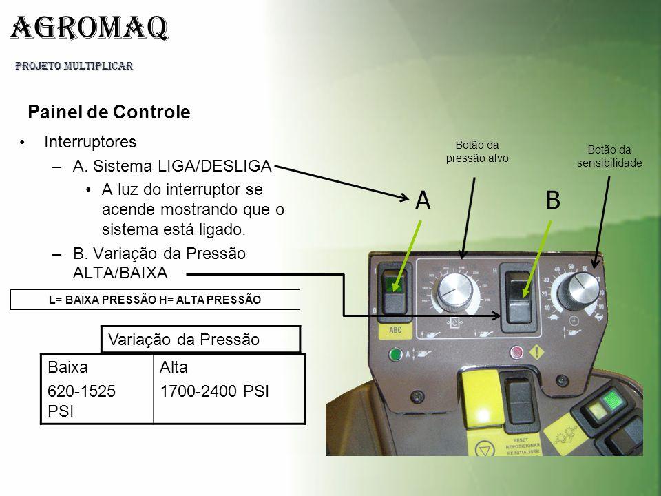 L= BAIXA PRESSÃO H= ALTA PRESSÃO