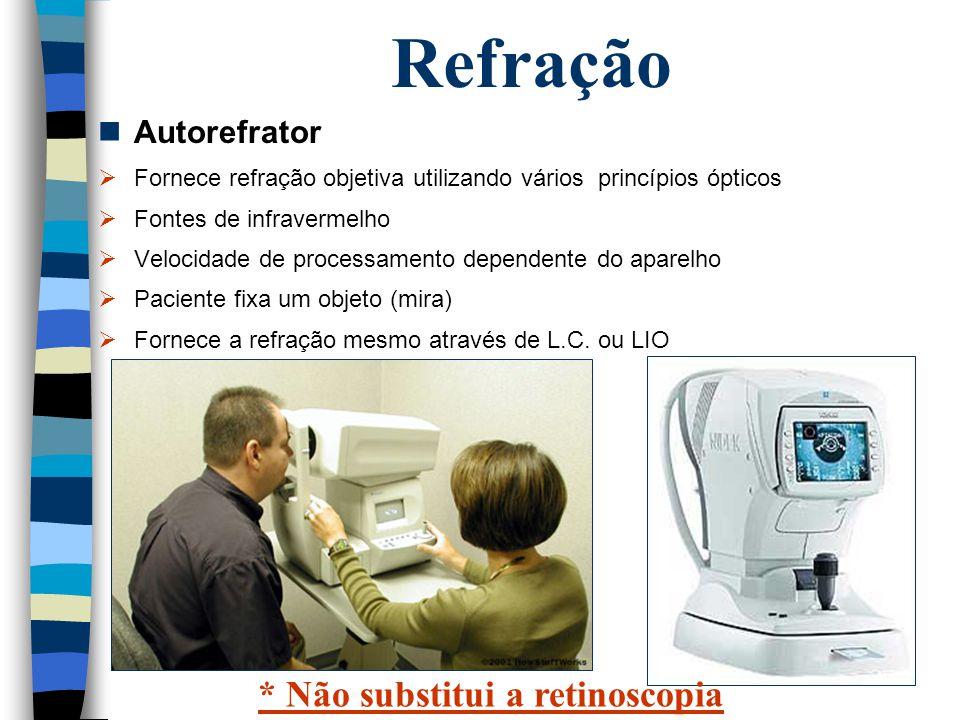 Refração * Não substitui a retinoscopia Autorefrator
