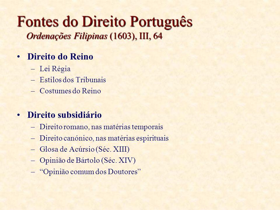 Fontes do Direito Português Ordenações Filipinas (1603), III, 64