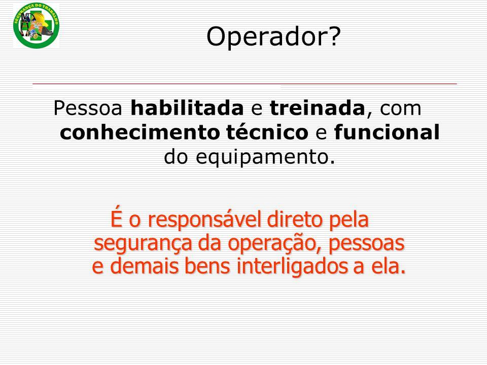 Operador Pessoa habilitada e treinada, com conhecimento técnico e funcional do equipamento.