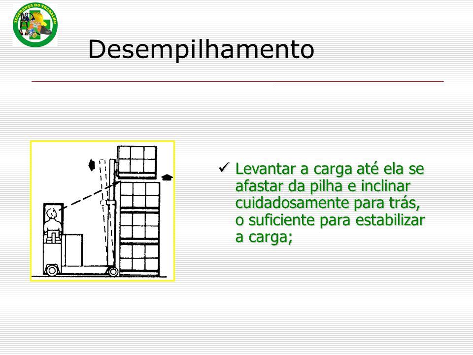 Desempilhamento Levantar a carga até ela se afastar da pilha e inclinar cuidadosamente para trás, o suficiente para estabilizar a carga;
