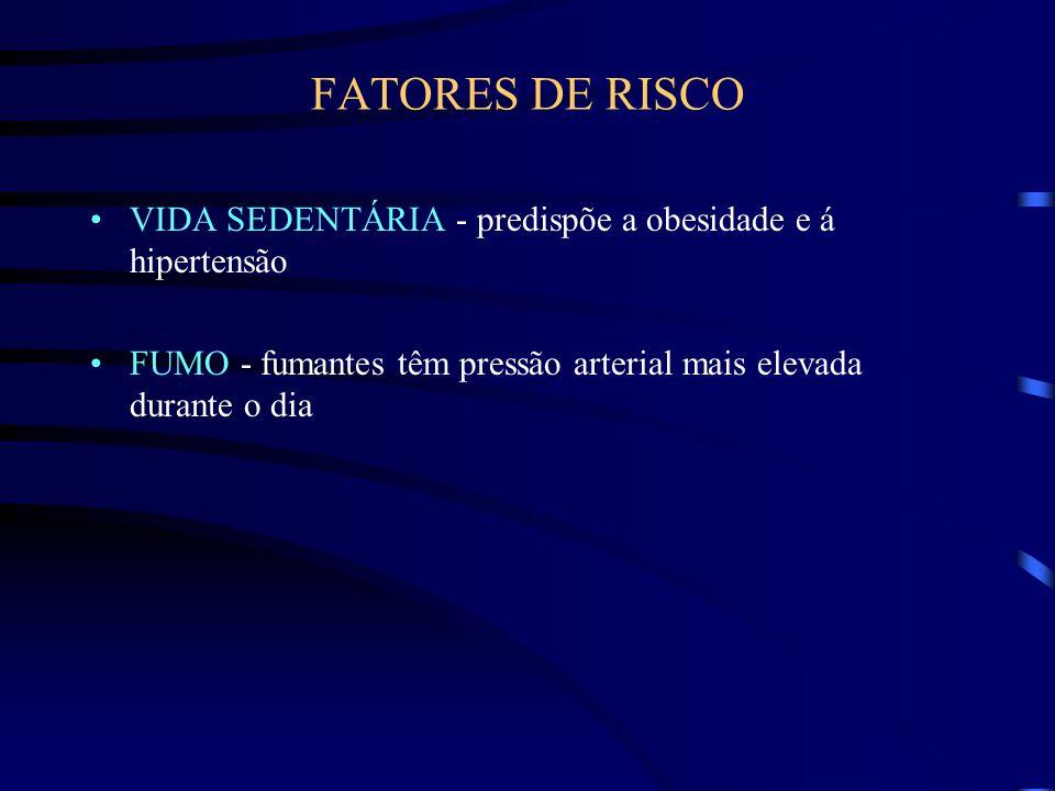 FATORES DE RISCO VIDA SEDENTÁRIA - predispõe a obesidade e á hipertensão.