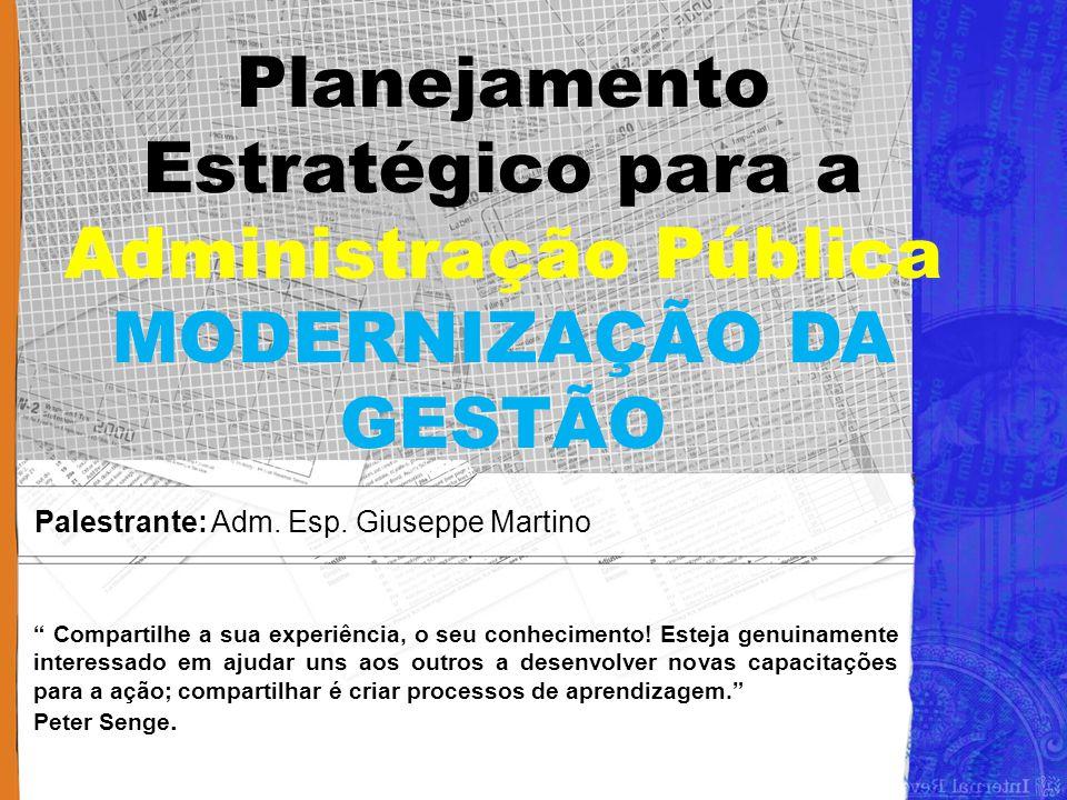 Palestrante: Adm. Esp. Giuseppe Martino
