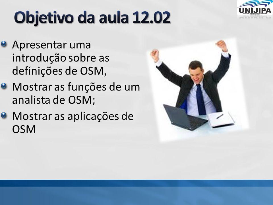 Objetivo da aula 12.02 Apresentar uma introdução sobre as definições de OSM, Mostrar as funções de um analista de OSM;