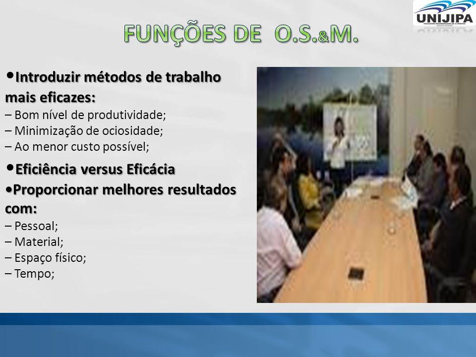 Funções de o.s.&M. •Introduzir métodos de trabalho mais eficazes:
