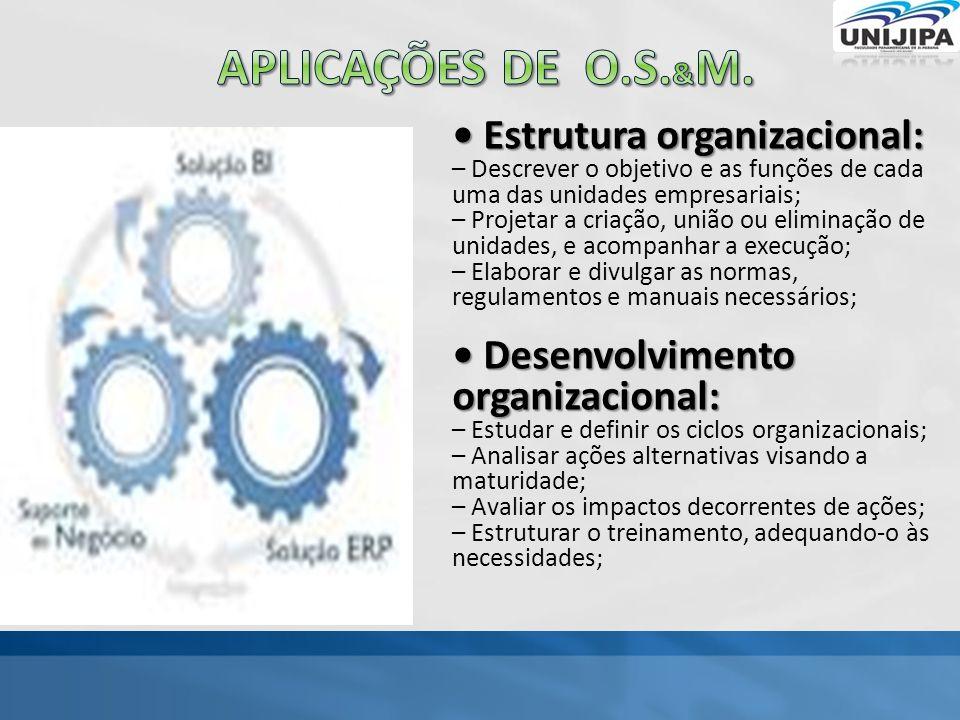 Aplicações de o.s.&M. • Estrutura organizacional: