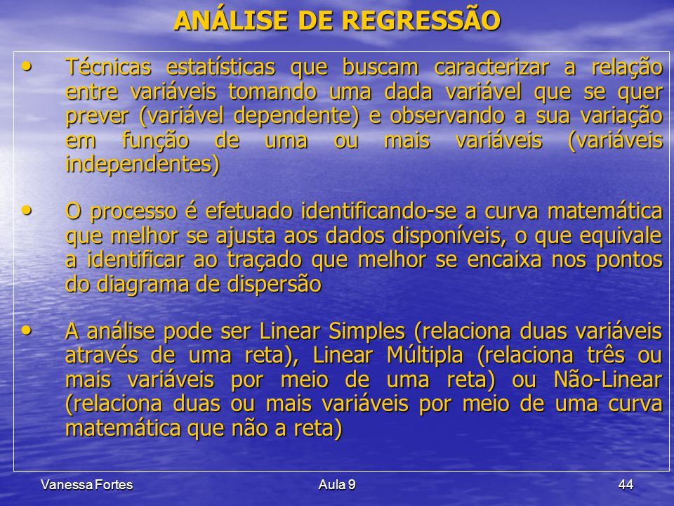 ANÁLISE DE REGRESSÃO