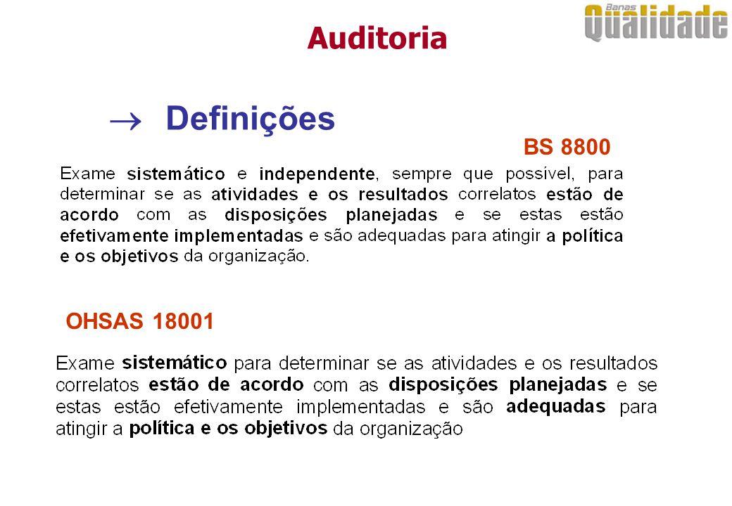 Auditoria  Definições BS 8800 OHSAS 18001