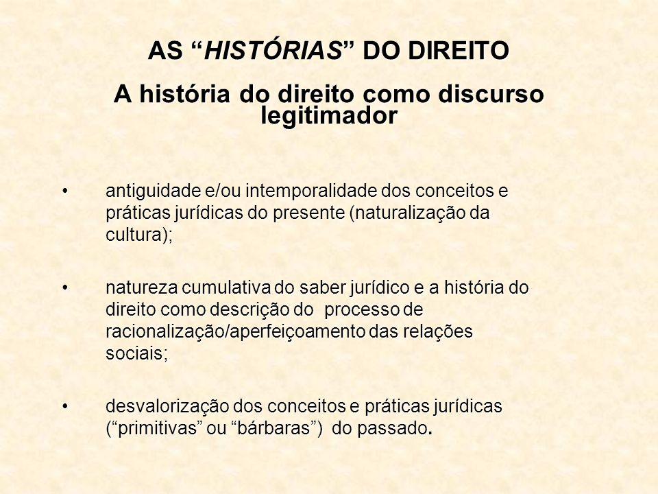 AS HISTÓRIAS DO DIREITO A história do direito como discurso legitimador
