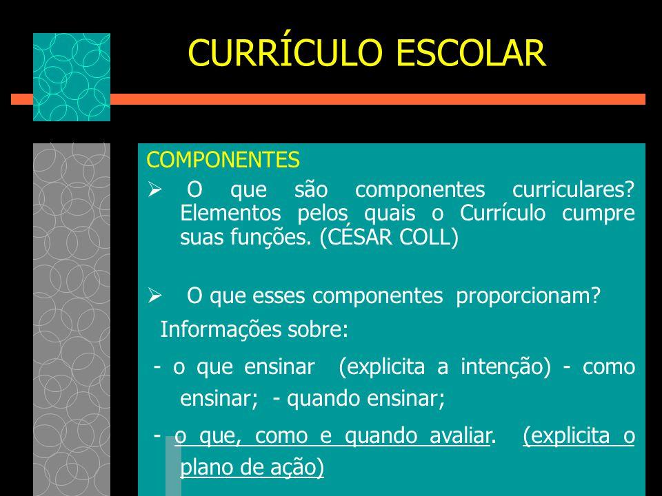 CURRÍCULO ESCOLAR COMPONENTES