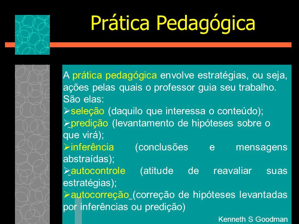 Prática Pedagógica A prática pedagógica envolve estratégias, ou seja, ações pelas quais o professor guia seu trabalho.