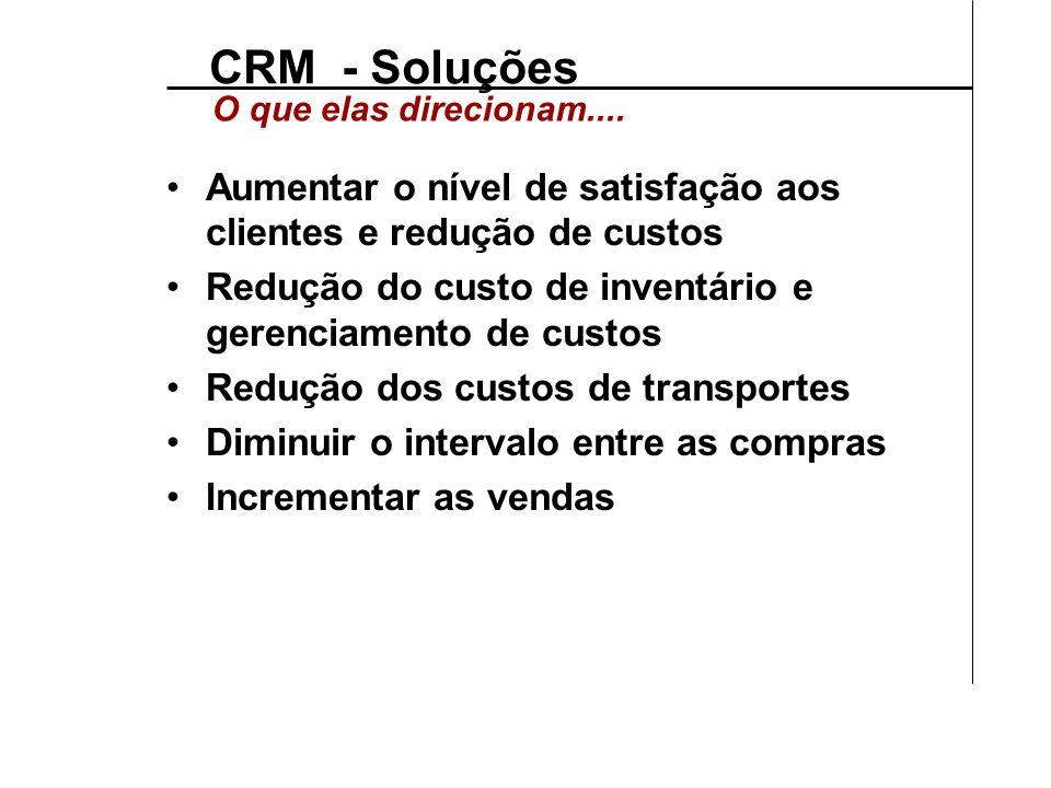 CRM - Soluções O que elas direcionam.... Aumentar o nível de satisfação aos clientes e redução de custos.